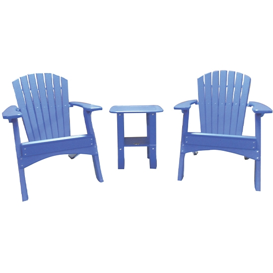 FOLDING CHAIRS WITH SIDE TABLE SET - BLUE