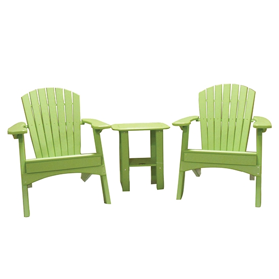 FOLDING CHAIRS WITH SIDE TABLE SET - LIME GREEN