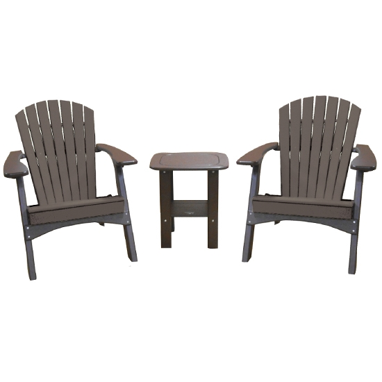 FOLDING CHAIRS WITH SIDE TABLE SET - MOCHA