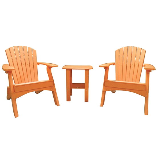 FOLDING CHAIRS WITH SIDE TABLE SET - TANGERINE