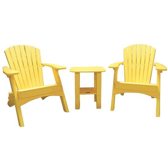 FOLDING CHAIRS WITH SIDE TABLE SET - YELLOW