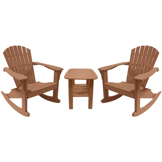 ROCKING CHAIRS WITH SIDE TABLE SET, CAMEL