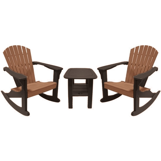 ROCKING CHAIRS WITH SIDE TABLE SET, CAMEL ON MOCHA