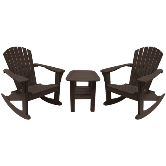 ROCKING CHAIRS WITH SIDE TABLE SET, MOCHA