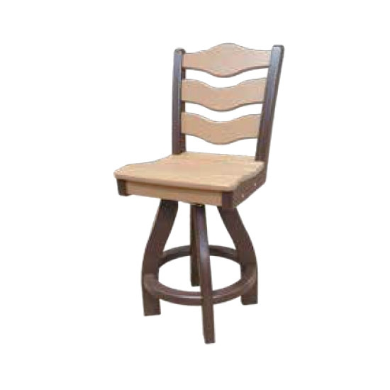 TRADITIONAL SWIVEL BAR HEIGHT CHAIR, CAMEL ON MOCHA