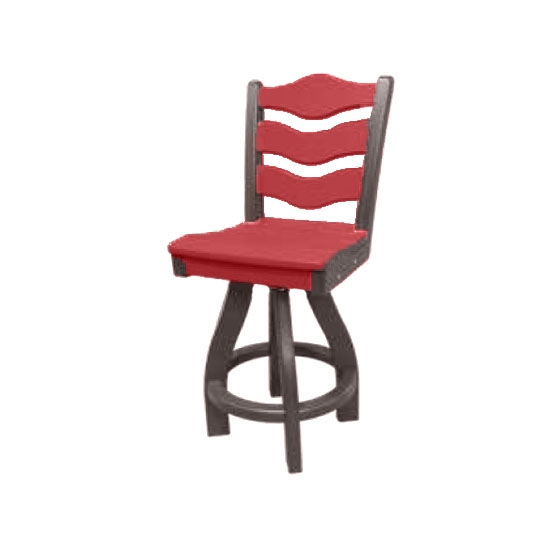 TRADITIONAL SWIVEL BAR HEIGHT CHAIR, CARDINAL RED ON MOCHA