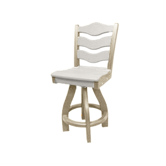 TRADITIONAL SWIVEL BAR HEIGHT CHAIR, WHITE ON SANDSTONE