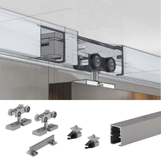 TopLine Grant Single Door Hardware Kit & 48 in. Track