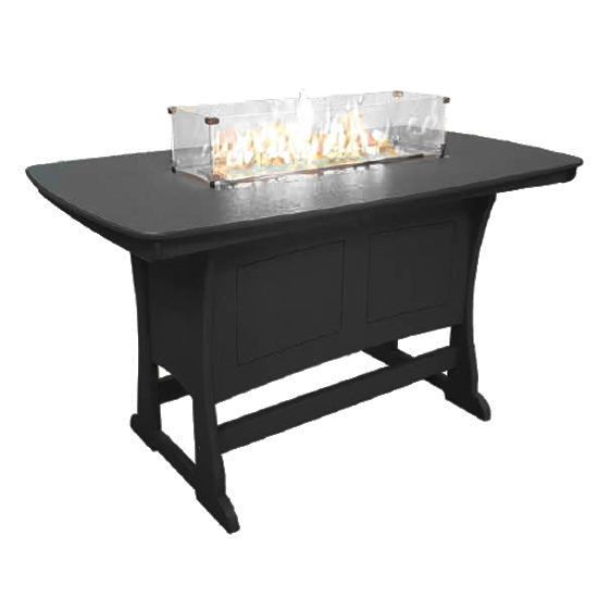 "72"" Bar Height Fire Table, Black"