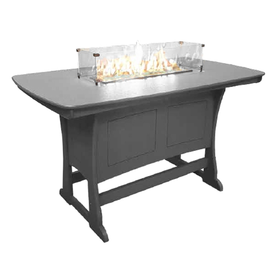 "72"" Bar Height Fire Table, Gray"