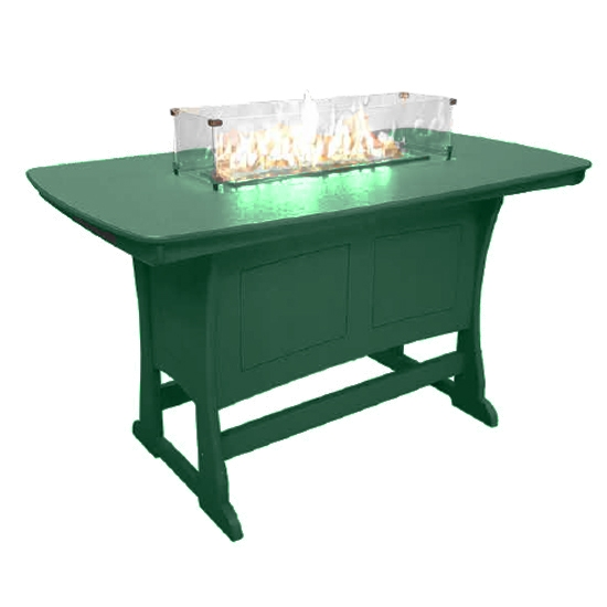 "72"" Bar Height Fire Table, Turf Green"