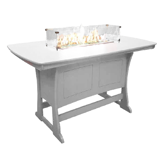 "72"" Bar Height Fire Table, White"