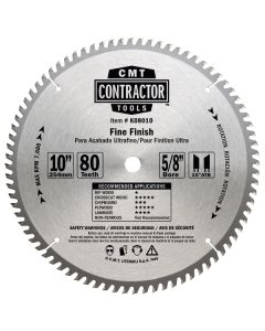 ITK Contractor Finishing Saw Blade, 10 X 80 Teeth, 10° ATB with 5/8-Inch Bore