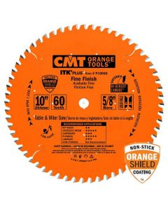 ITK Plus Finish Saw Blade, 10 x 60 Teeth, 10° ATB+Shear with 5/8-Inch bore