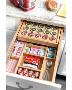 """Tiered K-Cup Drawer Organizer for 18"""" Cabinet  - Natural Wood/Maple - No Slides Included"""