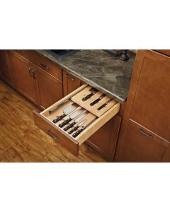 """Complete System Two-Tier Knife drawer with Blumotion soft-close for 18\"""" cabinet."""