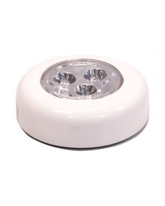 3 LED Push Button Puck Light,  Warm White, White Fixture