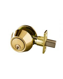 Deadbolt Single Cylinder Polished Brass View Pack