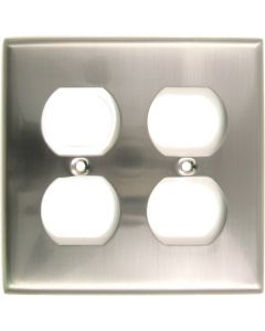 Satin Nickel Double Recep Switchplate