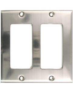 Satin Nickel Double Rocker Switchplate