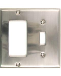 Satin Nickel Double Rocker/Switch Switchplate