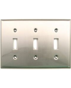 Satin Nickel Triple Switch Switchplate