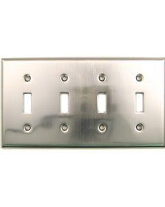 Satin Nickel Quad Switch Switchplate