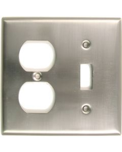 Satin Nickel Double Switch & Recep Switchplate