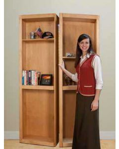 """InvisiDoor, 48\"""" Bifold Bookcase w/o Valance, Assembled, Unfinished, Cherry"""