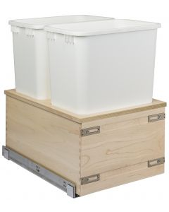 "Edge Series Bottom Mount Waste System, 14-7/8""w W/Double 50 qt Wastebasket and Rear Storage"