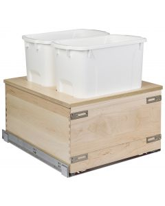 Edge Series Bottom Mount Waste System, 17-7/8W w/Double 34 qt Wastebasket and Rear Storage