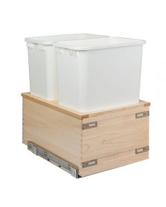 "Signature Series Maple 50 Qt. 14-7/8"" W Double Waste Basket & Rear Storage System"
