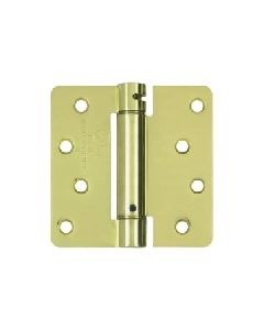 4''x 4''x 1/4'' Spring Hinge, Polished Brass