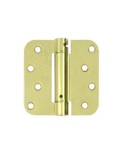 4''x 4''x 5/8'' Spring Hinge, Polished Brass