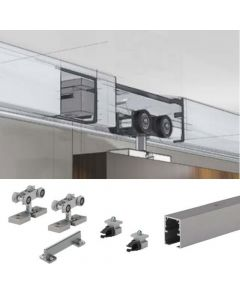 TopLine Grant Single Door Hardware Kit & 48 in. Track with a 4 Ft. to 10 Ft. Track 1