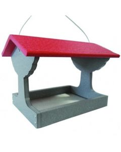 GREEN SOLUTIONS FLY-THRU FEEDER, GRAY WITH RED ROOF