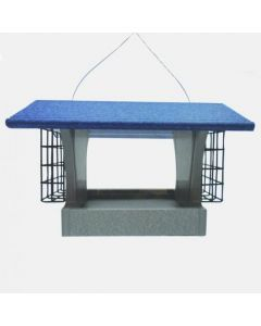 GREEN SOLUTIONS 3 QUART HOPPER FEEDER WITH SUETS, GRAY/BLUE