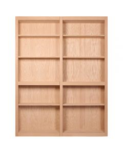 """InvisiDoor, 48\"""" Bifold Bookcase w/o Valance, Assembled, Unfinished, Red Oak"""