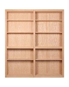 """InvisiDoor, 60\"""" Bifold Bookcase w/o Valance, Assembled, Unfinished, Red Oak"""
