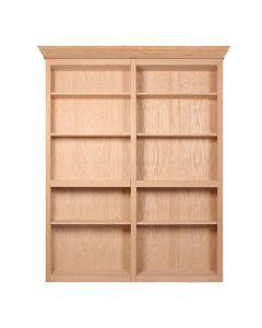 "InvisiDoor, 60\"" Bifold Bookcase, Assembled, Unfinished, Red Oak"