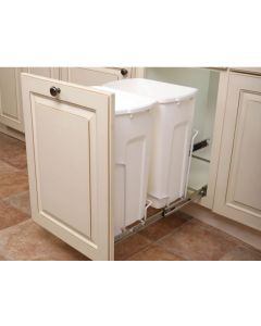 Soft-Close, Bottom-Mount, Double Waste Container, 35qt White w/optional door mount by purchasing