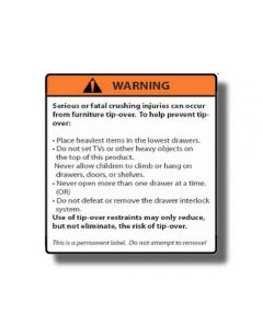 Warning Label for Anti-Tipping Kit, PSA Backed
