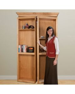 "InvisiDoor, 48\"" Bifold Bookcase, Assembled, Unfinished, Red Oak"