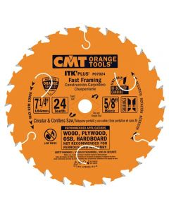 ITK Plus Fast Framing Saw Blade, 7-1/4 x 24 Teeth, 10° ATB+Shear with 5/8-Inch bore