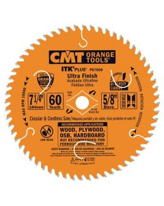 ITK Plus Ultra Finish Saw Blade, 7-1/4 x 60 Teeth, 10° ATB+Shear with 5/8-Inch bore