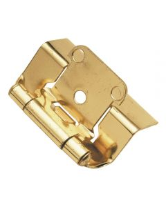 "Self-closing, Semi-concealed Hinge, Steel, Full Wrap, 1/2"" overlay, Polished Brass"