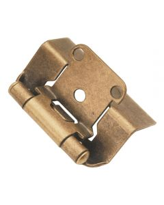 "Self-closing, Semi-concealed Hinge, Steel, Full Wrap, 1/2"" overlay, Antique Brass"