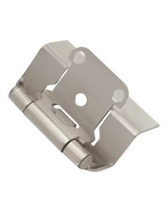 """Self-closing, Semi-concealed Hinge, Steel, Full Wrap, 1/2\"""" overlay, Satin NIckel"""