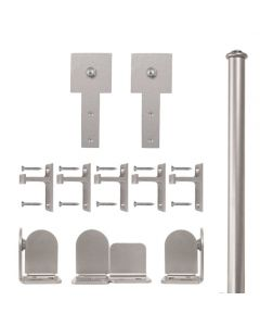 QG Rolling Door Cube Stick Hardware Short Bracket Kit Satin Nickel