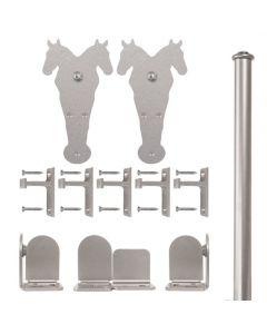 QG Rolling Door Double Horse Hardware Short Bracket Kit Satin Nickel